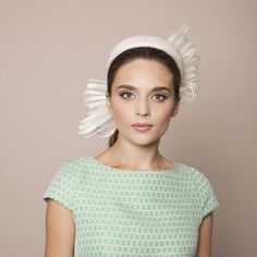 Gina Foster Millinery SS 2015 - Lavetto - Medium Pillbox with Striped Bow