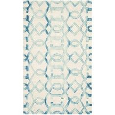 Ivory and Turquoise Contemporary Wool Area Rug