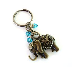 Sacred Elephant Keychain Bag Charm Yoga Accessories Aqua Blue Good Luck Party Favors Unique Gift For Her Birthday Under 20 Item G44 on Etsy, $12.95