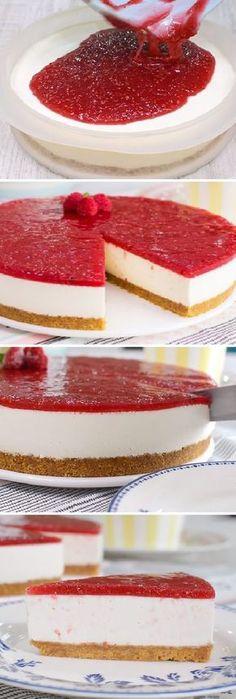 Cheesecake No Oven! Köstliche Desserts, Delicious Desserts, Dessert Recipes, Yummy Food, Yummy Snacks, Cheesecake Recipes, Yummy Yummy, Chess Cake, Chocolate Recipes