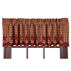 "Burgundy Star Scalloped Lined Layered Curtain Valance 72"" x 16"""