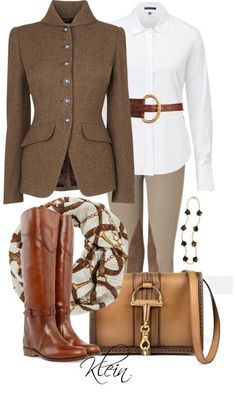 Casual chic- English equestrian...love the look of these riding outfits