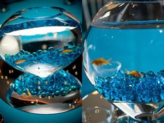 This fish bowl is a creative and unique wedding table centerpiece.  Click on image to see more of this beautiful wedding.