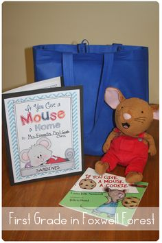Preschool and kindergarten take home bags back to school ideas mouse home and writing about their adventures with him your kids will love this take home bag too create traveling book bags publicscrutiny Gallery