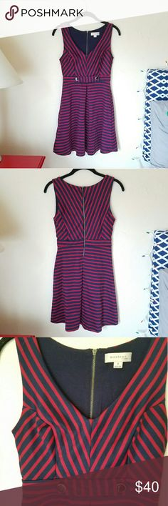 Nautical Dresd Nautical inspired dress. Red and navy stripes with navy and gold accent buttons on the front. Super cute dress and very comfortable. Brand is Monteau and size is SMALL Monteau Dresses Midi