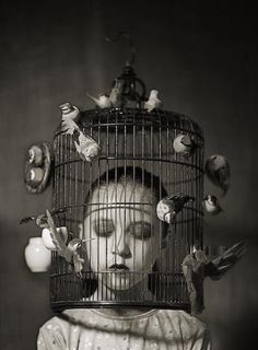 The surreal art is not an old school of art, but the digital life give the surreal art new dimentions and possabilities. It becomes more like a mixed art, when you can use photography, photo manipulation, computer art to deliver your surreal idea. Illustration Arte, Wow Art, Bird Cages, Bird In A Cage, Photomontage, Surreal Art, Macabre, Dark Art, Creepy