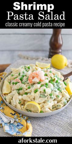 This shrimp pasta salad is a cold, creamy, mayonnaise-based pasta salad combined with fresh shrimp, sweet garden peas, boiled eggs, and onion. #shrimppastasalad #coldpastasalad #mayobasedpastasalad Cold Pasta Recipes, Best Seafood Recipes, Best Salad Recipes, Salad Dressing Recipes, Healthy Recipes, Shrimp Recipes, Noodle Recipes, Meal Recipes, Fish Recipes