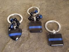 Thin Blue Line keychains by JenniBDesigns on Etsy.