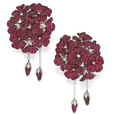 Pair of 18 Karat Two-Color Gold, Spinel and Diamond Earclips, Michele della Valle