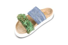 double band raffia blue and green fringes Ss 17, Fringes, Pool Slides, Slip On, Band, Sandals, Green, Shoes, Fashion