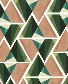 Geometric surface print and pattern ideas and inspiration. I love this repeat triangle pattern. The greens, blues and sandy pink colour go together really nicely. Geometric Patterns, Graphic Patterns, Geometric Shapes, Color Patterns, Print Patterns, Geometric Graphic, Color Schemes, Motifs Textiles, Textile Patterns