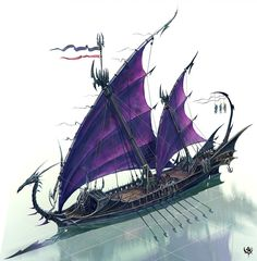 Duskari Glaive ships silently cut through the water to distant shores for conquest and raids. They collect goods and people to return to the dark lands from whence they came. Fantasy Sword, Fantasy City, Fantasy Rpg, Medieval Fantasy, Warhammer Dark Elves, Warhammer Fantasy, Fantasy Concept Art, Fantasy Artwork, Steampunk Ship