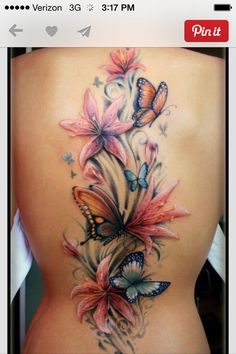 Flowers and Butterflies tat #butterfly #tattoos