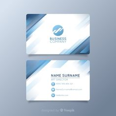 White visiting card with logo and blue shapes Free Vector Luxury Business Cards, Minimalist Business Cards, Business Card Design, Business Company Names, Company Letterhead, Pastel Gradient, Dental Art, Name Cards, Logo Templates
