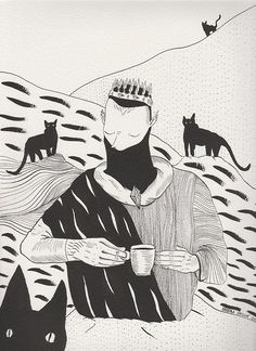 Royal coffee drinker with group of black panters. This catish illustration is also partly included on our T-Shirts. Check it here :http://sewologylab.com/collection FB
