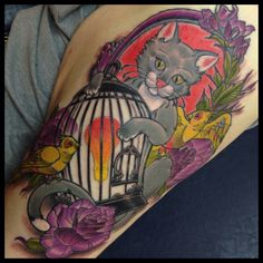 Kitty cat bird cage and birds tattoo by Ben Gun