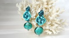 Blue Green Earrings Hand Tied Double Coin Prosperity Knot With Swirled Blue Green Glass Bead Dangle
