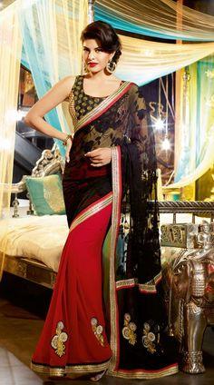 Red Jacqueline Fernandez Bollywood Designer Saree 3H1010513