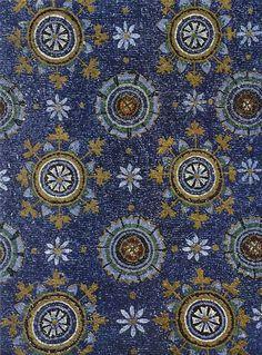 Byzantine ceiling mosaic representing the night sky, 5th century CE. Galla Placidia Mausoleum, Ravenna, Italy.