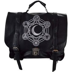 Restyle Gypsy Gothic Dark Magic Witchcraft Moon Messenger Expandable 3... ($82) ❤ liked on Polyvore featuring bags, messenger bags, gothic messenger bag, expandable bag, gypsy bag and gothic bags