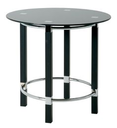 Round End Table In Black Glass Top Buy Lamps, Rounded Rectangle, Sale Uk, Black Glass, Contemporary, Modern, End Tables, Chrome, Table Lamp