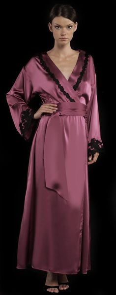 68ae6757d2 Long robe in silk with Florentine fret-work lace details. Silk. Hand wash
