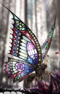 Digital Steampunk / Gothic Art - Photoshop illustration of a butterfly adorned in gothic architectur Glass Butterfly, Butterfly Wings, Butterfly Pendant, Butterfly Design, Beautiful Bugs, Beautiful Butterflies, Stained Glass Art, Mosaic Glass, Stained Glass Tattoo