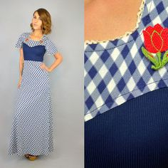 vtg 70s GINGHAM + Tulip Patch flutter sleeve picnic rockabilly MAXI DRESS, extra small-small