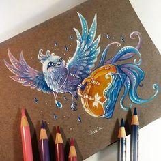 travel bird color pencil drawing by alvia alcedo