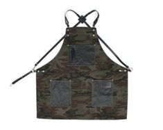Barber apron, Camouflage Canvas with Black Leather Strap Apron by KustomDuo