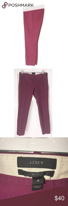 """J. Crew Minnie Skinny Trousers J. crew Minnie stretch cotton pants. Sits just above hip. Fitted through hip and thigh, with a skinny, cropped leg. Side zip, fake back pockets. It's called the """"magic pant"""" around the office for a reason: It's sleek, chic and slim fitting, with an exactly-right-length leg. And it goes with just about everything.  Measurements are approximate and taken while pants are laying flat. 🔹15.5"""" waist 🔹25"""" inseam 🔹18.5"""" hip J. Crew Pants Skinny"""