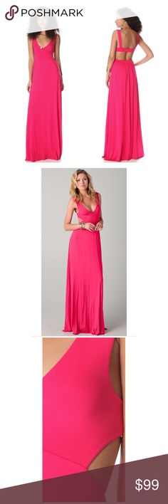 """rachel pally • hot pink cutout maxi dress • jersey This V-neck jersey maxi dress features ruching at the banded waist and a cutout at the back. Unfinished bottom hem. 1.5"""" straps. Double-layered at bodice.  Approximately 61"""" long, measured from shoulder. Fabrication: Jersey. 92% modal/8% spandex. Dry clean. Made in the USA. Reasonable offers are welcome. Rachel Pally Dresses Maxi"""