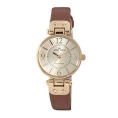 Anne Klein 10-9442CHHY Women's Beige Dial Brown Strap Rose Gold Tone Metal Watch #AnneKlein