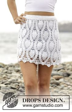 "Crochet DROPS skirt with lace pattern and overlap, worked top down in ""Safran"". Free Pattern"