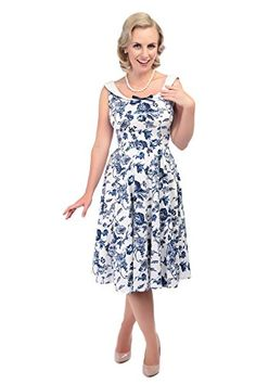 Collectif Vintage Womens Maddison Flared White  Blue Toile Print 1950s Dress UK 12 ** Check out the image by visiting the link.