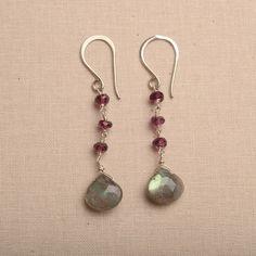 labradorite earrings, rhodolite garnet earrings, long dangle earrings, gifts for mothers day, mothers day gift jewelyr, blue gray earrings on Etsy, $59.00