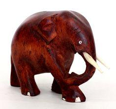 Elephant Figurine Hand mahogany colored wood carved from old Sri Lanka technology.