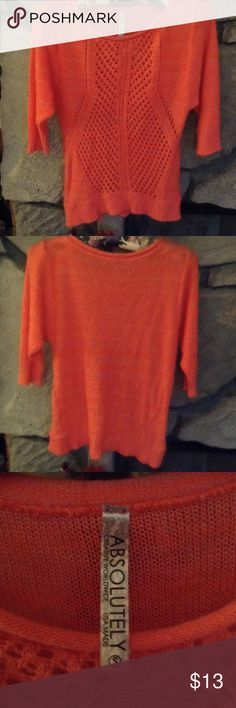 Juniors Coral Sweater 3/4 Sleeve Coral sweater, dolman sleeves 3/4 length.  Scoop neck.  Made by Absolutely.. SZ S. Clean, worn lightly, smoke free home. Absolutely Sweaters Crew & Scoop Necks