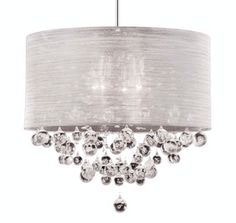 new 4 lamp crystal chandelier pendant dia silk drum shade ceiling light