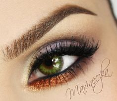"""""""Green Eyed Vegas"""" by Maxineczka using the Makeup Geek Vegas Lights pigment. The copper tones make green eyes a stand out!"""
