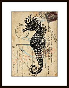 Seepferdchen seahorse r228 Digiprint Vintage von Vintage Prints auf DaWanda.com