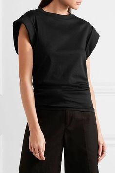Isabel Marant - Lowell Draped Cotton-jersey Top - Black - FR40