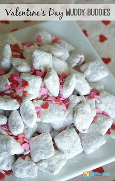 Valentine's Day Muddy Buddies Recipe, otherwise known as Valentine's Day Puppy Chow, a fun Valentine's Day snack for the kids!