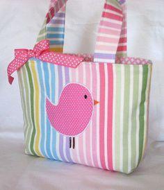 Little Girls Purse....Mini Miss size . Applique Bird . applique chick . Mini…
