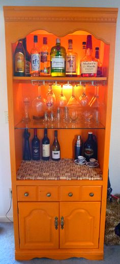 My answer to the DIY bookshelf-to-bar I pinned as inspiration. I love it!
