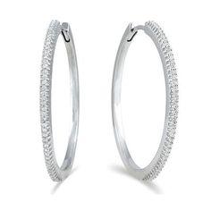 1 3 Carat Tw Genuine Diamond Hoop Earrings In Platinum Plated 925 Sterling Silver