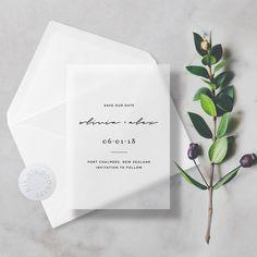 Wedding Designs Minimal Vellum Save The Dates Transparent/Translucent with Premium Envelope Wedding Invitation Wording, Modern Wedding Invitations, Wedding Stationary, Invitation Design, Invites, Wedding Paper, Wedding Cards, Wedding Gifts, Wedding Day