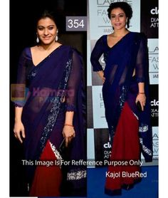 Kajol Look Beautiful in Blue Red Bollywood Replica Saree Bollywood Sarees Online, Bollywood Designer Sarees, Bollywood Dress, Indian Designer Sarees, Latest Designer Sarees, Ethnic Wear Designer, Latest Sarees, Indian Sarees, Chiffon Saree