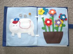 Piggy bank page (coins can go inside the pig with a zipper) and flower page