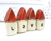 Christmasinjuly - A set of tiny rustic ceramic LOVE houses  Miniature houses  Little houses  - elitett tbteam